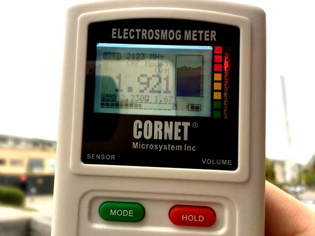 EMF reading from cell tower with EMF meter
